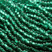 8/0 Czech Seed Bead Hank - Sliver Lined Emerald